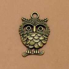 10/100x Retro Auspicious Alloy lucky Owl Charms Pendants Jewelry Finding 33X22MM