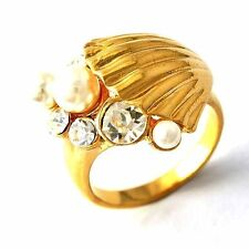 Yellow gold filled White Pearl/ Clear CZ shell Womens wedding Ring lot Size 8 9
