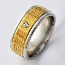 Unisex Mens Gold Filled Stainless Steel clear CZ vintage mystic Ring Size 8-11