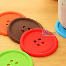 Silicone Button Shaped Coasters Wine Tea Cup Cushion Drink Coffee Placemat Mat