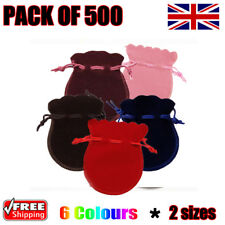 500 x Oval Velvet Gift Pouches Wedding Favour Bag Jewellery 6 Colours & 2 Sizes