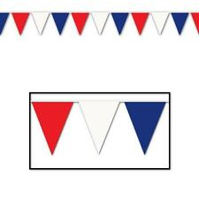 PENNANT BUNTING 30 FOOT PENNANT FLAGS OF RED WHITE BLUE BRITISH QUEENS 90TH