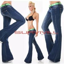 Womens Jeans FLARE Cut Dark Blue Sexy Low Rise Hipster Free Belt Sz 6 8 10 12 14