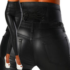 Sexy Women's Stretchy Black Jeans Trousers Skinny High Waisted Wet Look H 014