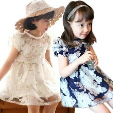 Summer New Kids Girls Flower Mesh Dresses kids Girl toddler short sleeve dress