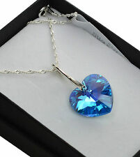 925 Silver Necklace made with Swarovski Crystals *AQUAMARINE AB* Heart