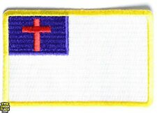 CHRISTIAN FLAG EMBROIDERED PATCH JESUS CHRIST RELIGIOUS IRON-ON EMBLEM