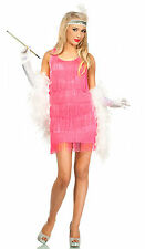 Womens 1920s FLAPPER Pink Gangster Charleston COSTUME - 12,14,16,18 Plus Size
