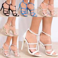 LADIES BARELY THERE STRAPPY OPEN TOE ANKLE STRAP STILETTO HIGH HEELS SHOES 3-8