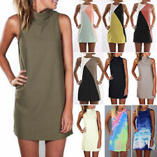 Plus Size Summer Women Sexy Mini Tunic Dress Casual Sleeveless Sundress Long Top