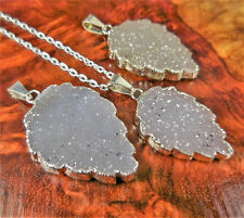 Druzy Necklace - Agate Crystal Cluster Leaf Pendant (E34) Silver Plated Gemstone