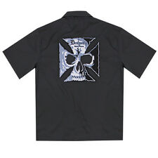 Dragonfly Roadhouse Cross and Skull Black Button up Short Sleeve Shirt