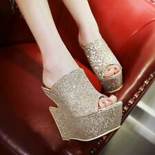 Hot Womens Super High Heels Wedge Sexy Paillette Clubwear Slippers Shoes Sandals