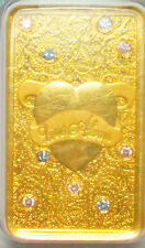 24K 5G Gold Bar Bullion With Natural Argyle Blue And Pink Diamonds All Natural