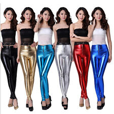 New Women's Sexy Shiny Metallic Leggings Liquid Wet Look Stretch Tight Fit Pants