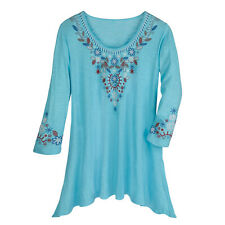 Turquoise Floral Embroidered Sharkbite Hem Tunic Top Shirt Women's or Plus Sizes