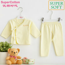 New Newborn baby infant 0-3M outfit set boy girl clothes pink yellow blue cotton