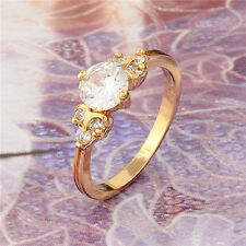 Authentic 18K Yellow Gold Filled crystal Crystals Womens Band Ring,SZ 6,7,8,9