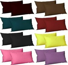 """Polycotton Luxury Housewife Pair of Plain Pillow Cases Cushion Cover Set 19x29"""""""