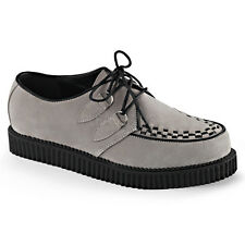 Demonia Creeper-602S Grey Suede Shoes - Gothic,Goth,Punk,Grey,Creepers,Buckle