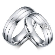 Women/Men's Couple Stainless Steel Ring Engagement&Wedding Band Rings, Size 5-13