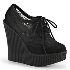 Demonia Creeper-307 Black Lace Wedge Shoes - Gothic,Goth,Punk,Black,Wedges,Buckl