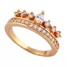 Deluxe 14K Gold Filled Around Flawless CZ Wedding Party Ring Size 6 7 8