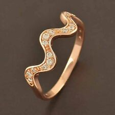 Delicate 9K Rose Gold Filled Flawles Top Cubic Zirconia Wave Ring size 7 8