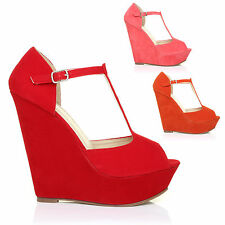 NEW! Ladies Platform Womens Peep Toe Summer T-Bar Wedge High Heel Shoes Size 3-8