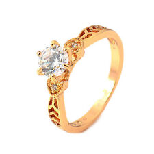 Vintage Hollow Heart 24K Gold Plated Clear Round CZ Promise Love Band Ring