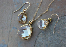 Champagne & Gold Crystal Necklace & Earring Set- 14k gold filled chain -earhooks