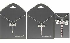Necklace Dragonfly pink or silver diamantes tail