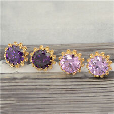 Stunning 18K Yellow Gold Filled crystal Crystal Womens Sunflower Stud Earrings