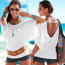 New Women Sexy Batwing Sleeve Backless T-shirt Summer Beach Casual Loose Tee Top