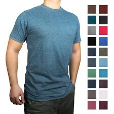 New Men's Fine Jersey Crew Round Neck Blank T-Shirt Short Sleeves Heather Colors