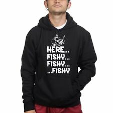 Here Fishy Fishy Fishing Rod Tackle Angler Bait Running Sweatshirt Hoodie