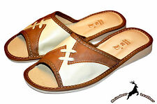 Women's 100% Genuine Leather Handmade Ladies House Slippers Shoes Sandal Slip On