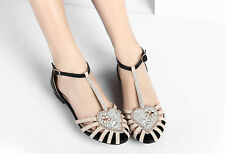 Women Zara Bling Rhinestone Flat Jelly Sandals ankle straps shoes