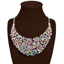 2016 New Fashion Multi-Color Statement Women Flower Bib Choker Necklace