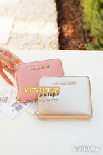 BNWT MICHAEL KORS Leather Md Zip-around Wallet Clutch Purse Pink Gold