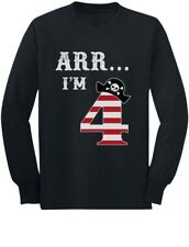 Arr I'm 4 Pirate Birthday Party Four Years Old Youth Kids Long Sleeve T-Shirt