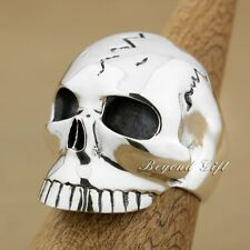 Huge & Heavy Cool 925 Sterling Silver Skull Mens Ring 9M009D US Size 7.5~13.5