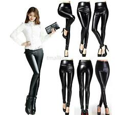 Women High Waist Faux Leather Stretchy Pants Slim Skinny Leggings Trousers