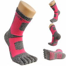 Women's Crew Sports Running Cycling Coolmax Cotton Five Finger 5 Toe Socks Pink