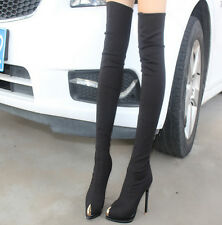 New Womens Over Thigh Knee High Boot High Heel Stiletto Pointy Toe Metal Shoes