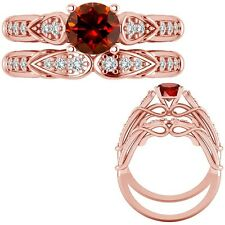 0.50 Ct Red Diamond Designer Wedding Promise Ladies Ring + Band 14K Rose Gold