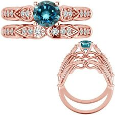 0.50 Ct Blue Diamond Designer Wedding Promise Ladies Ring + Band 14K Rose Gold