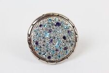 John Hardy 925 Sterling Silver Kali Circle Ring Purple Blue Crystals Size 7