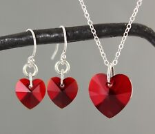 Siam Ruby Red Heart Necklace & Earrings Set- sterling silver chain & ear hooks