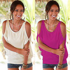 New Women Ladies Sexy Batwing Split Off Shoulder T Shirt Casual Baggy Top Blouse